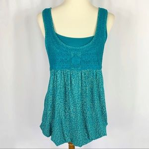 Kimchi Blue Embroidered Lace Layered Tank Top Sz L